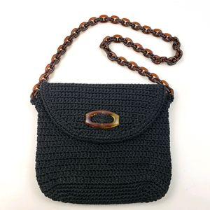 MiVida Black Crocheted Bag with Acrylic Ch…